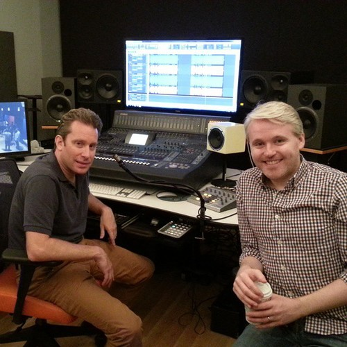 Recording engineer Jeremy Gerard and Matt Gallagher in the studio recording booth