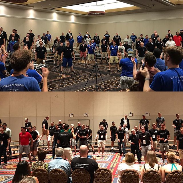 "It was an absolute privilege to ""trade"" performances with Central Standard and Fog City Singers today. It is so wonderful to share our harmony with brothers from across the country! #EveryoneInHarmony #BHSVEGAS"
