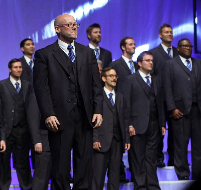 Bill Stauffer with the chorus at the 2015 Barbershop Harmony Society International Chorus Competion where Voices of Gotham finished in 6th place