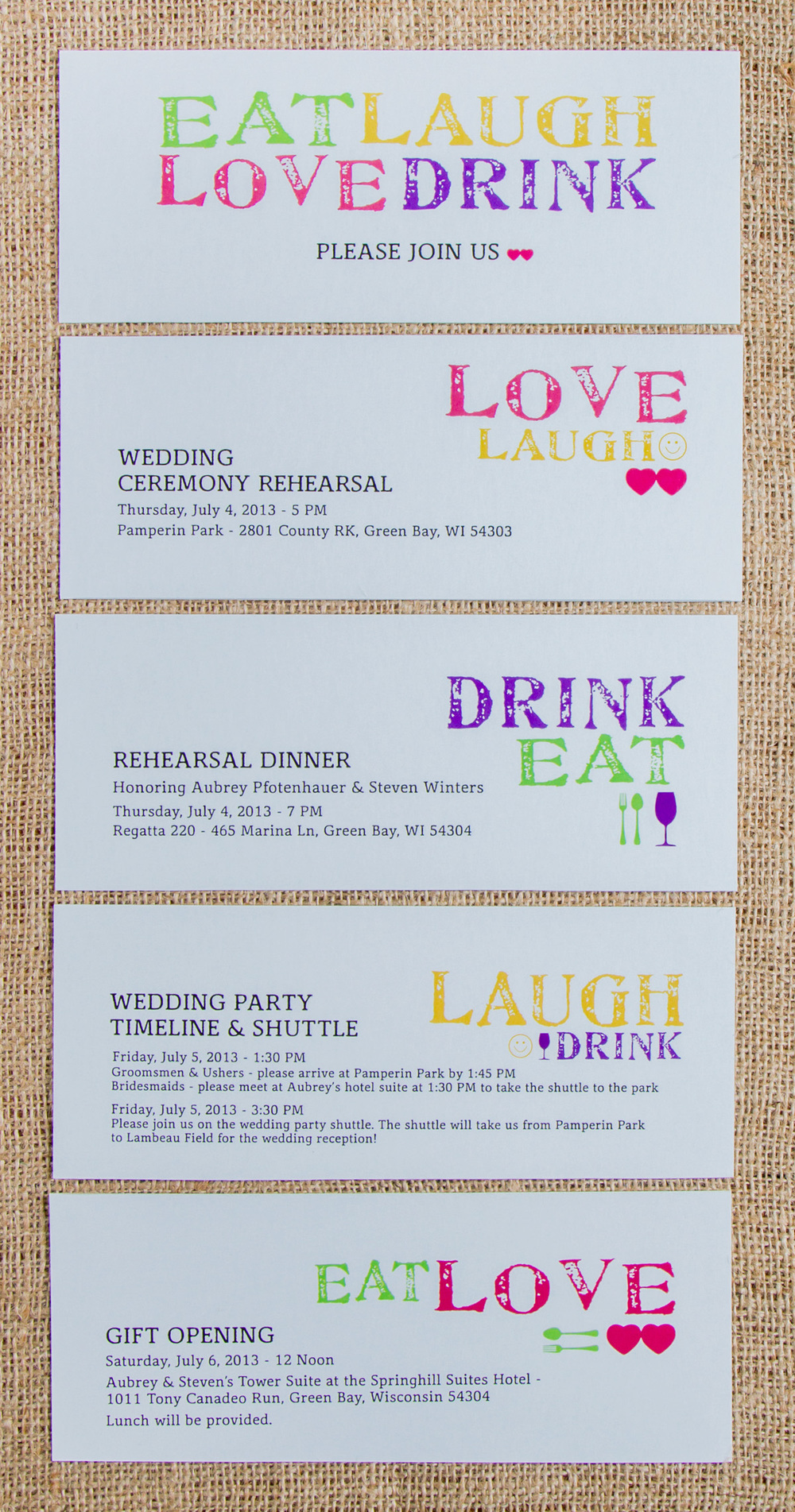Wedding Events Invitation Set // Individual Sheets