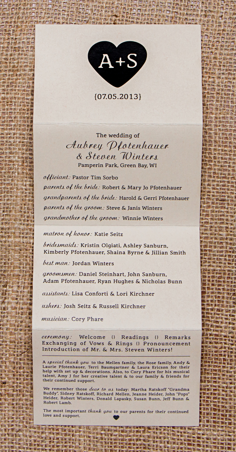 A + S Wedding Program Card