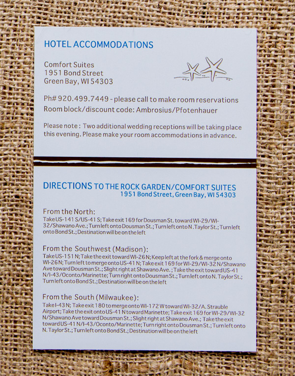 Pfotenhauer's Reception Hotel & Direction Card