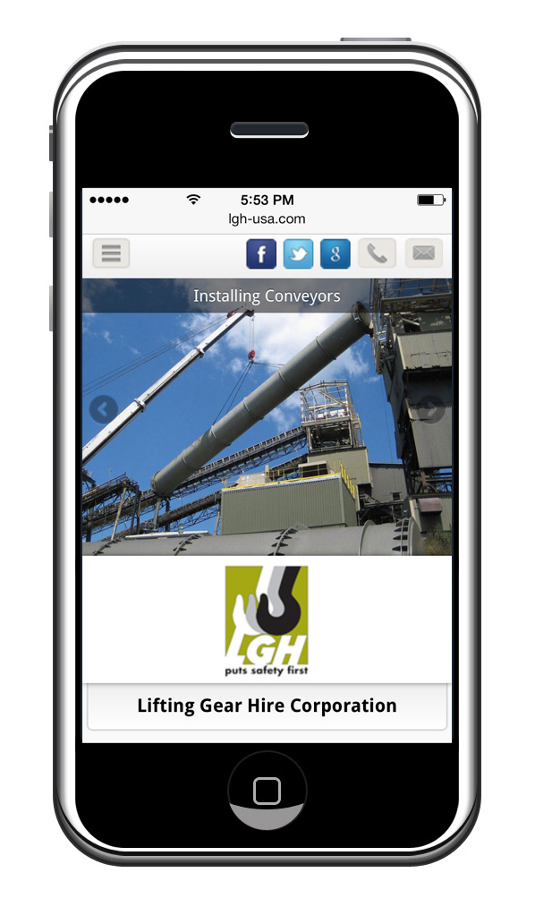 Lifting Gear Hire's Mobile Website // Home Page