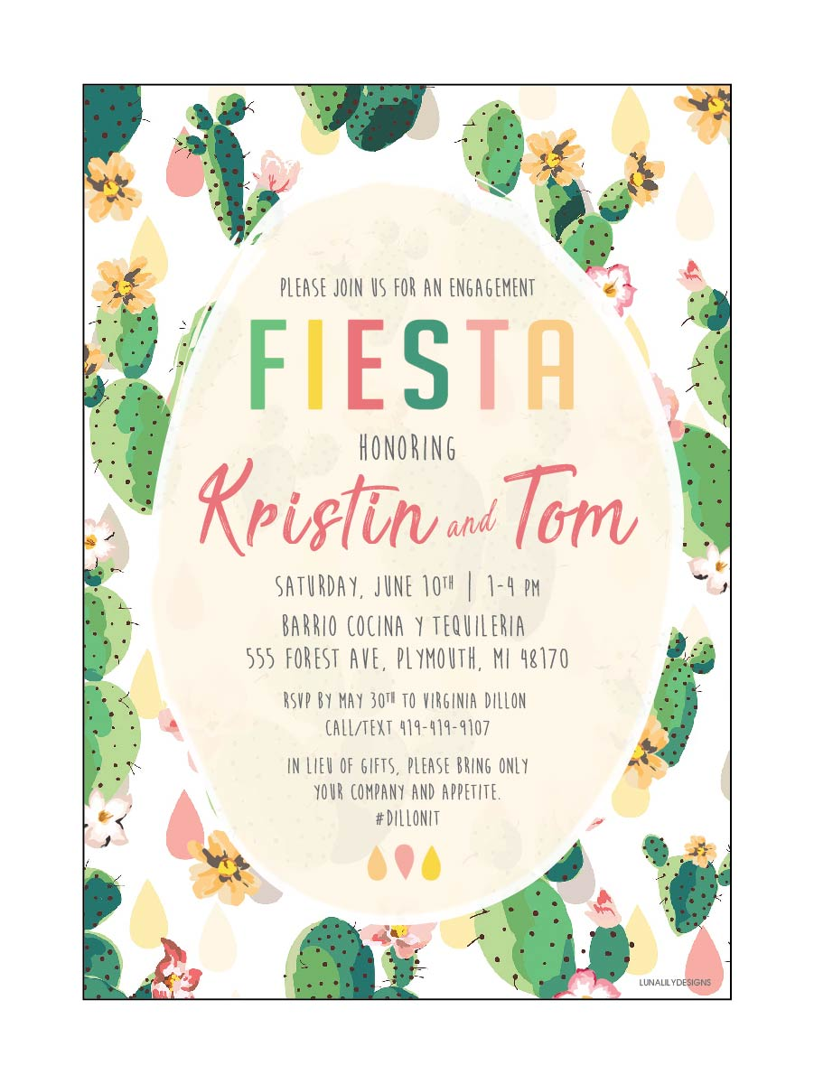 Kristin & Tom's Engagement Fiesta Invitation