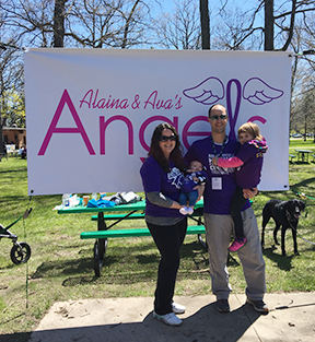 Alaina, Ava, Mom & Dad at a CF walk // 2017