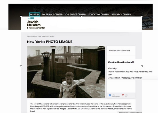 Exhibition of work from The Photo League featuring Boy on a Roof, Pitt Street, NYC 1947 by Walter Rosenblum.