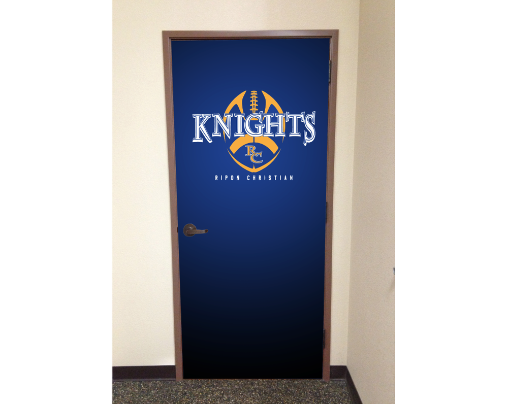 School Door wrap Knights design