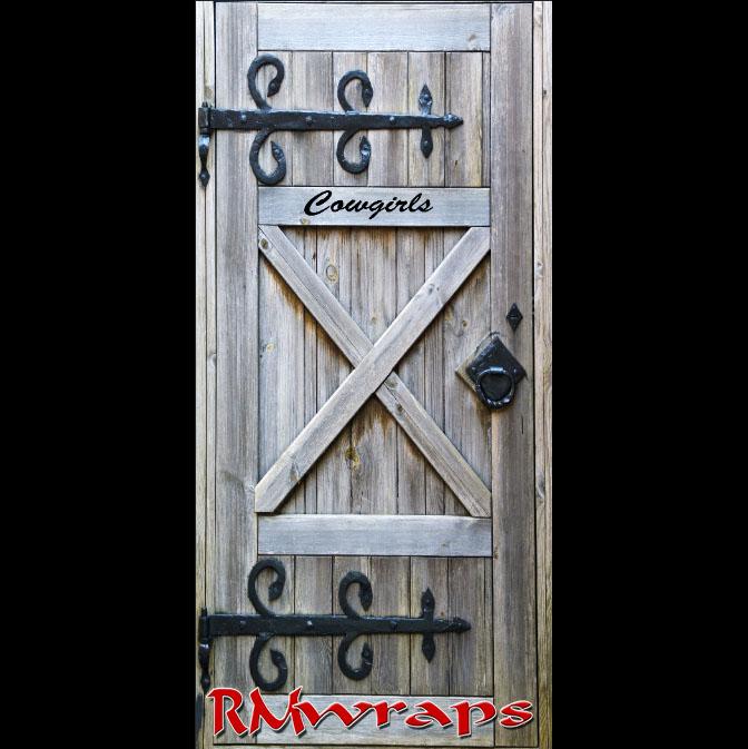 Cowgirl Restroom door wraps Rm wraps