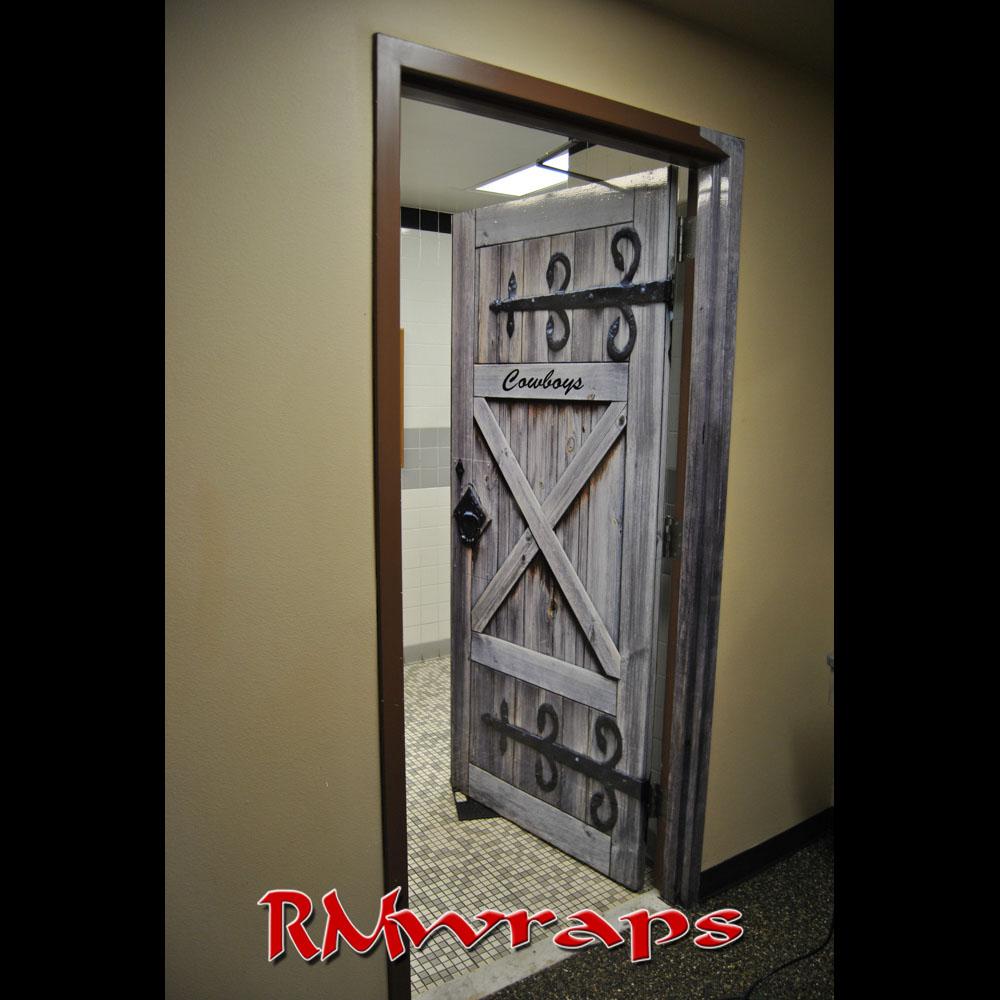 Cowboy Restroom Door wraps Rmwraps