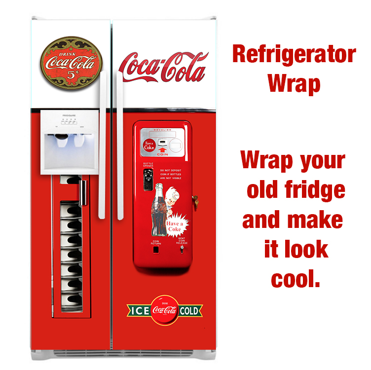 Coca cola refrigerator side by side wrap