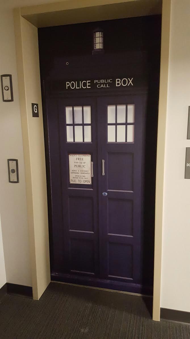 good looking doctor who tardis door decal. elevator Tardis door wrap Refrigerator  Rm Wraps