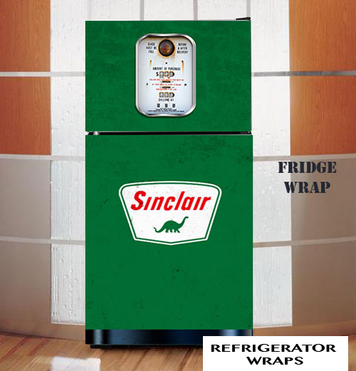 Vintage gas pump Sinclair refrigerator wrap