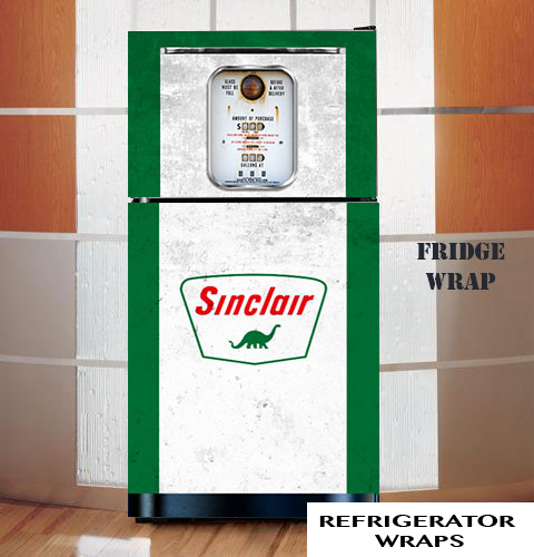 Vintage gas pump Sinclair white refrigerator wrap