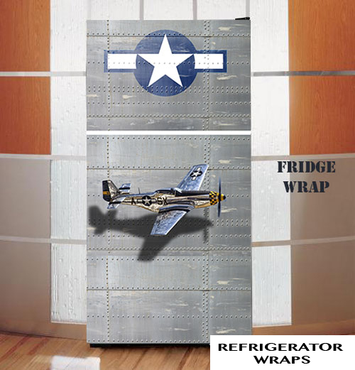 P51 airplane refrigerator wrap