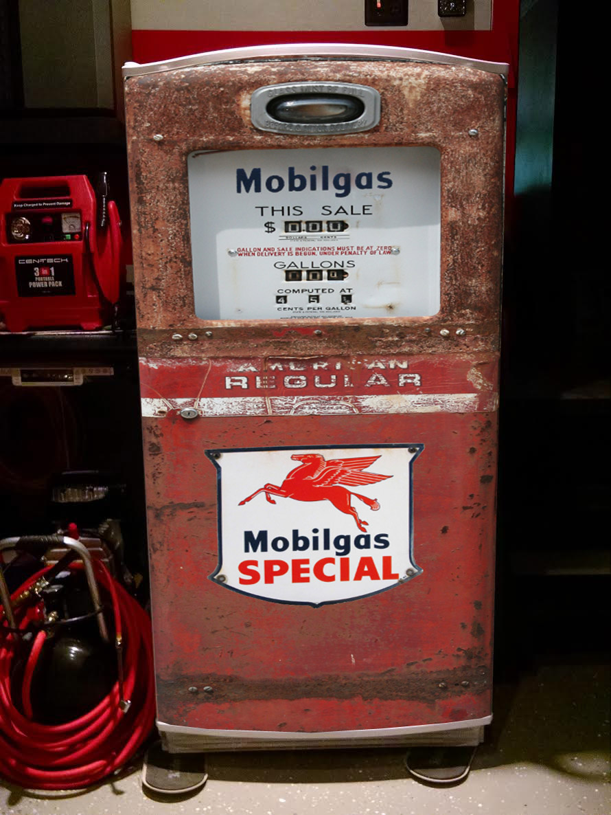 Gas Pumps For Sale >> Mobilgas Special red rust Gas pump Refrigerator wrap — Rm Wraps