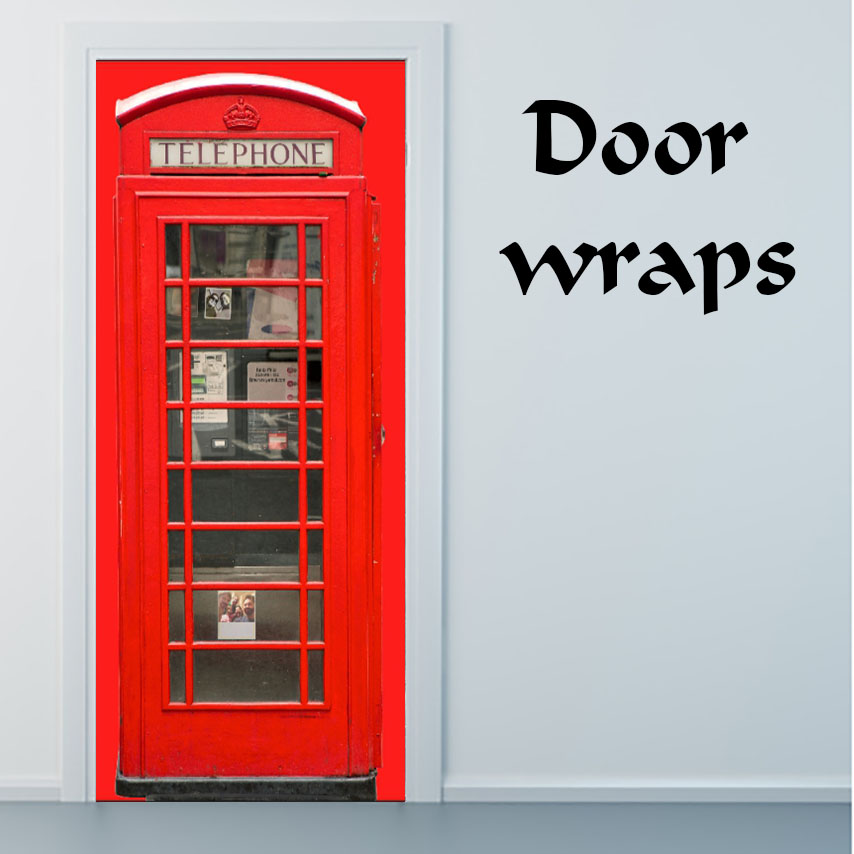 British red booth Door wrap