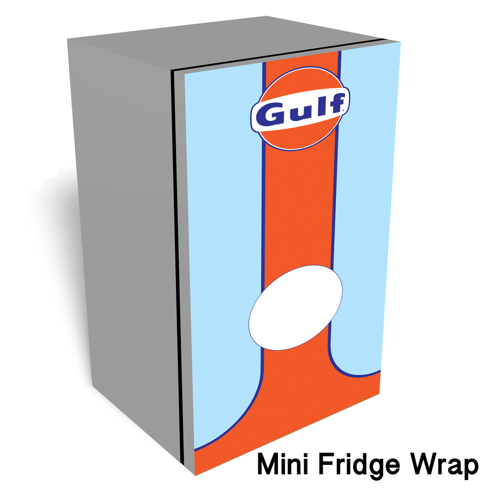 Gulf Race car Mini fridge wrap