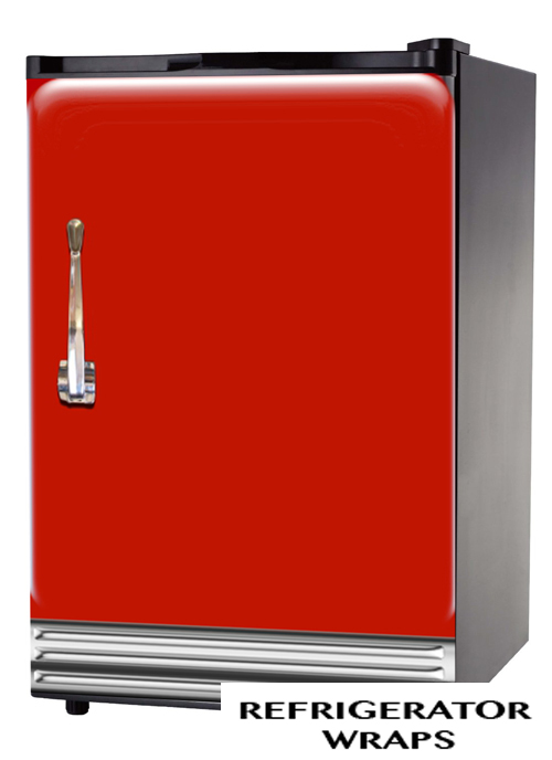Red with chrome mini fridge wrap sticker
