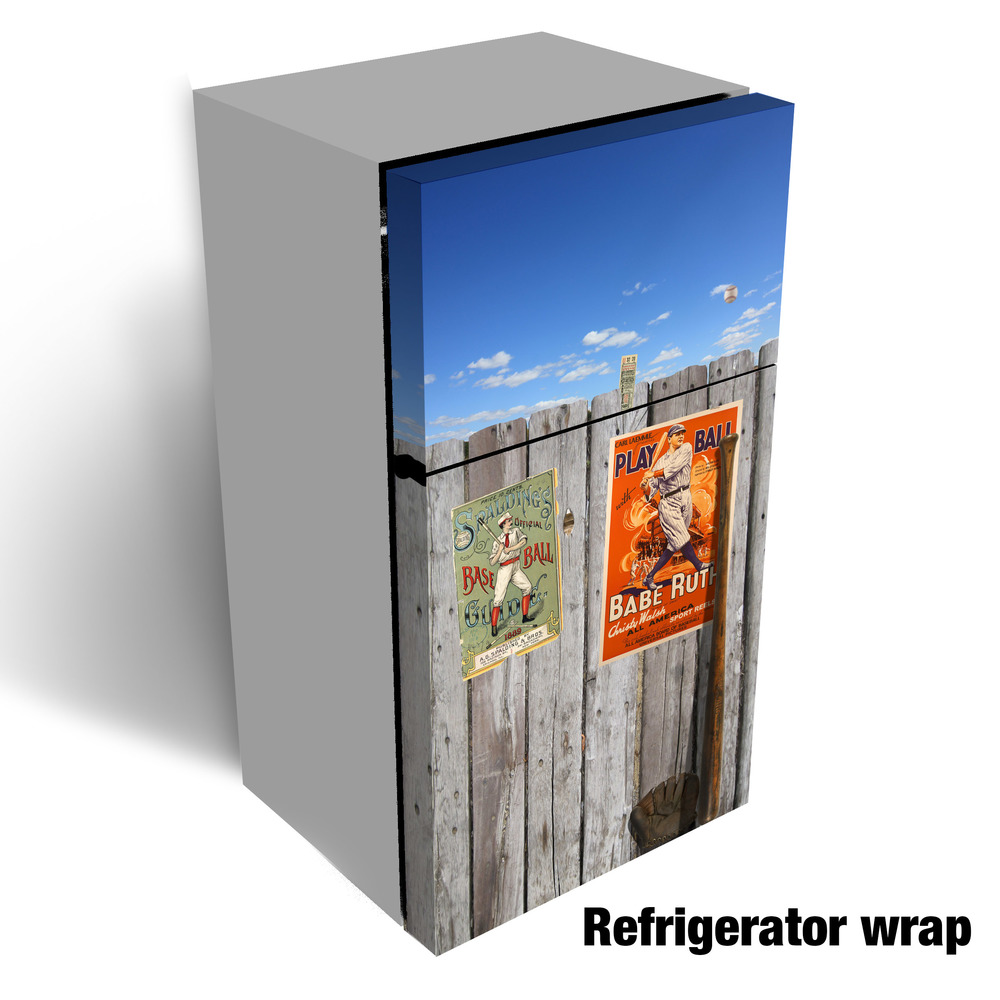 Vintage baseball refrigerator wrap refrigerator wrap