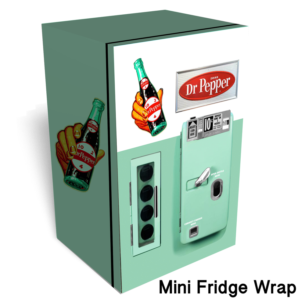 Dr pepper vintage vending machine Mini fridge wrap