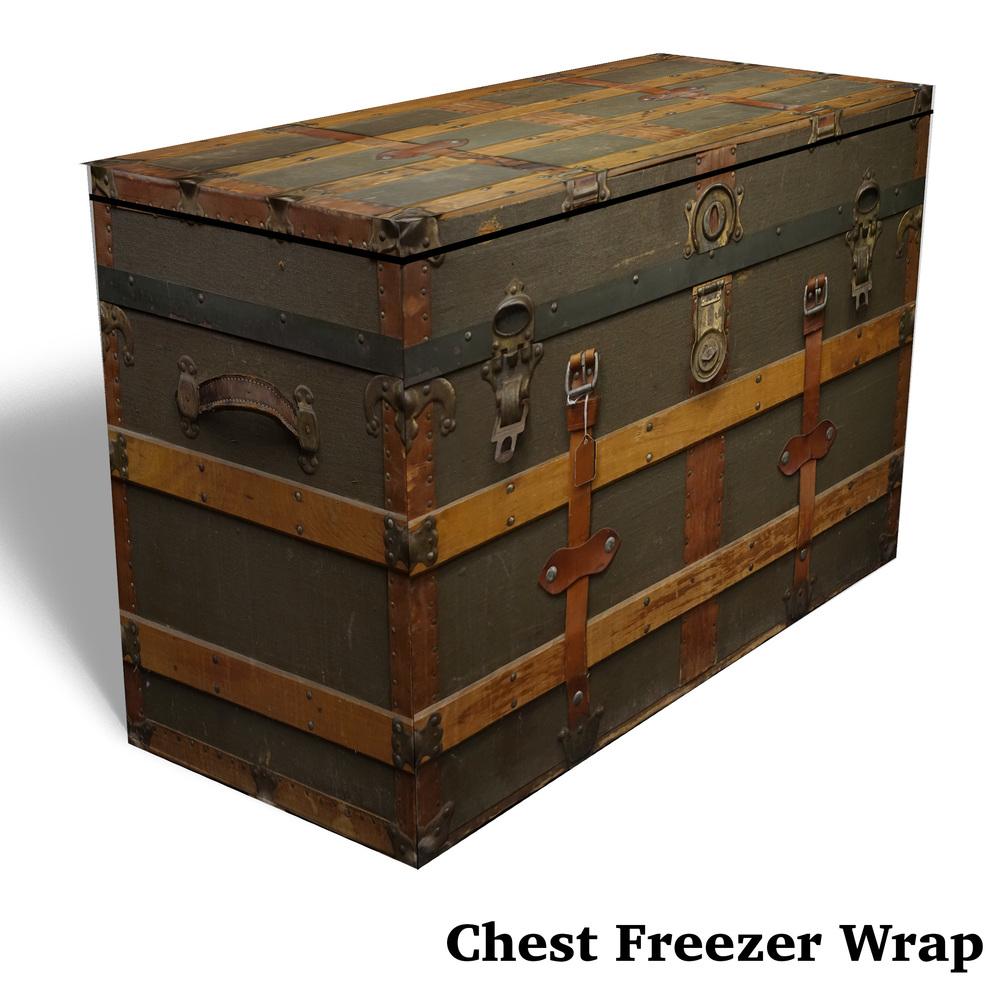 Vintage trunk chest freezer wrap