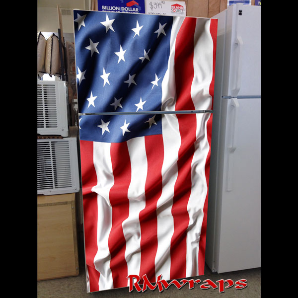 USA Flag clean wave refrigerator wrap