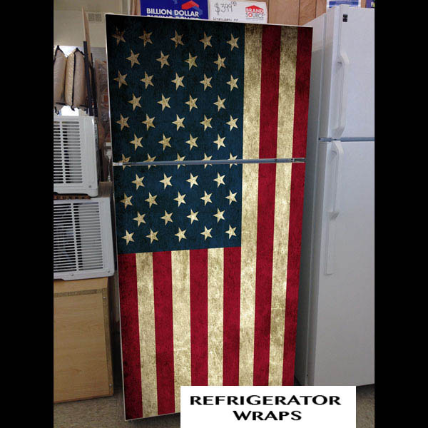 USA Flag refrigerator wrap
