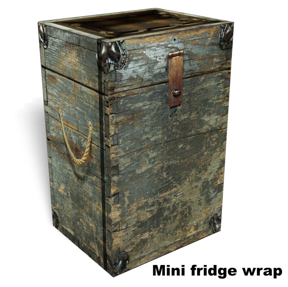 Wooden Box Mini Fridge wrap