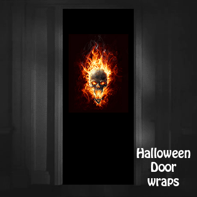 Halloween Flaming Skull Door wraps