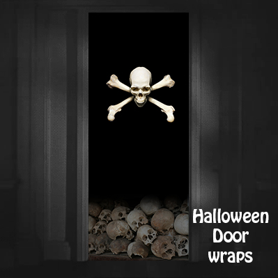 Halloween Pirate skull door wrap