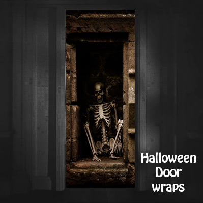 Halloween Skeleton Sitting Door Wrap