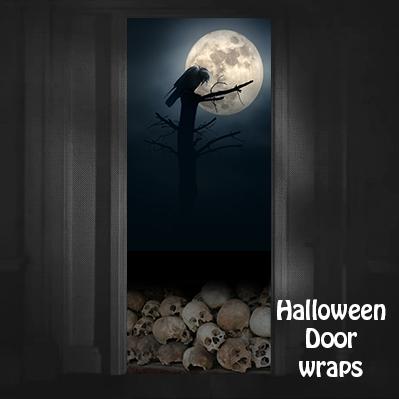 Halloween Full moon black crow door wrap