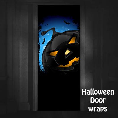 Halloween Dark Jack-o-lantern Door Wrap