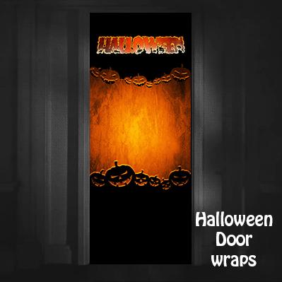 Halloween Jack-o-lantern Orange background Door Wrap