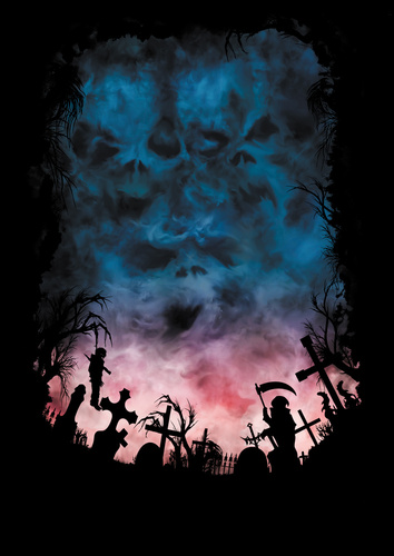Halloween Horror background with skies like a skulls and a cemetery Door Wrap