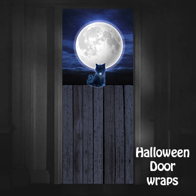 Halloween cat on the fence Door Wrap