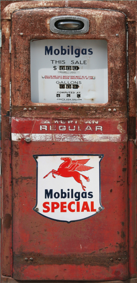 MOBILGAS SPECIAL RED RUST GAS PUMP