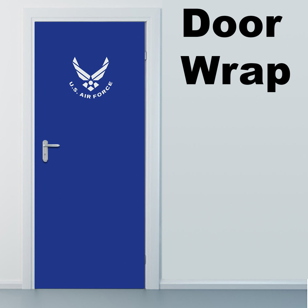 Air force blue with logo door wrap Door wrap