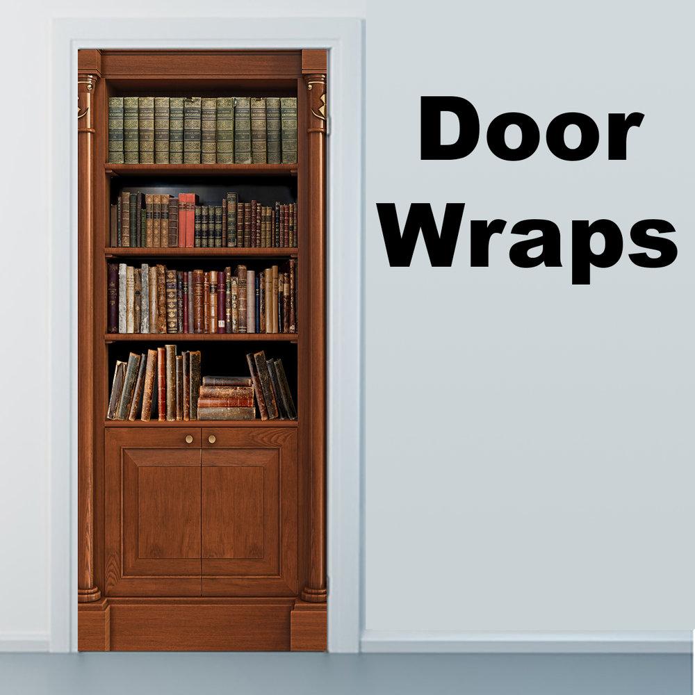 Old Bookshelf Door Wrap