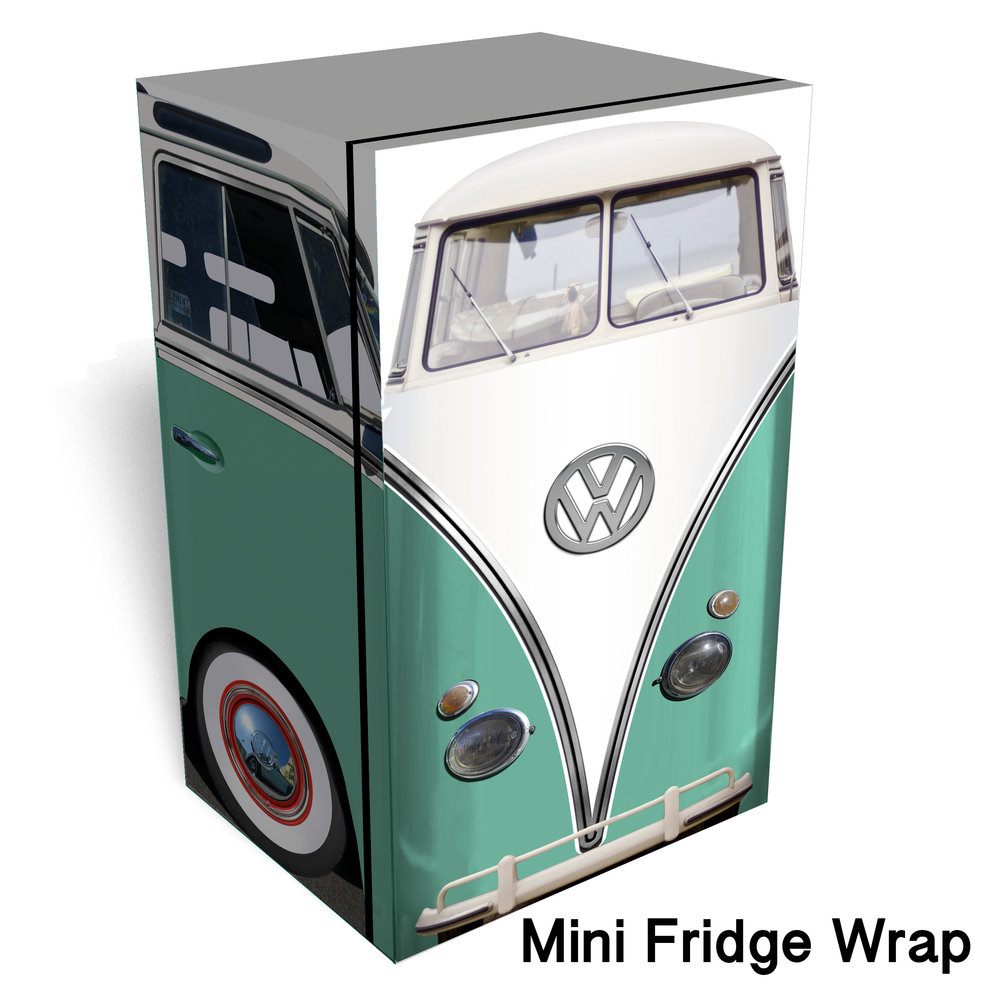 Vw Bus Mint Mini Fridge wrap