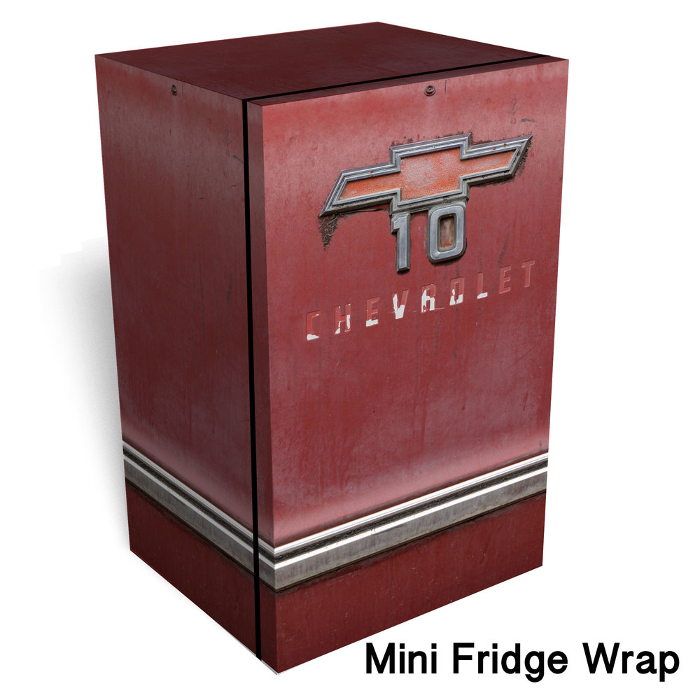 Red Chevrolet 10 Mini Fridge Wrap