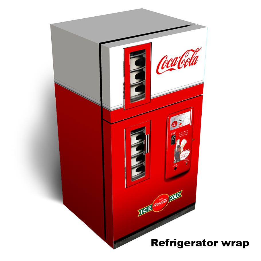 Coca Cola vending machine Refrigerator Skin - New cleaner design.