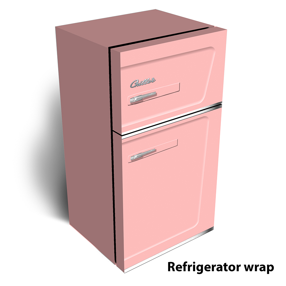 Retro pink lady Refrigerator Wrap