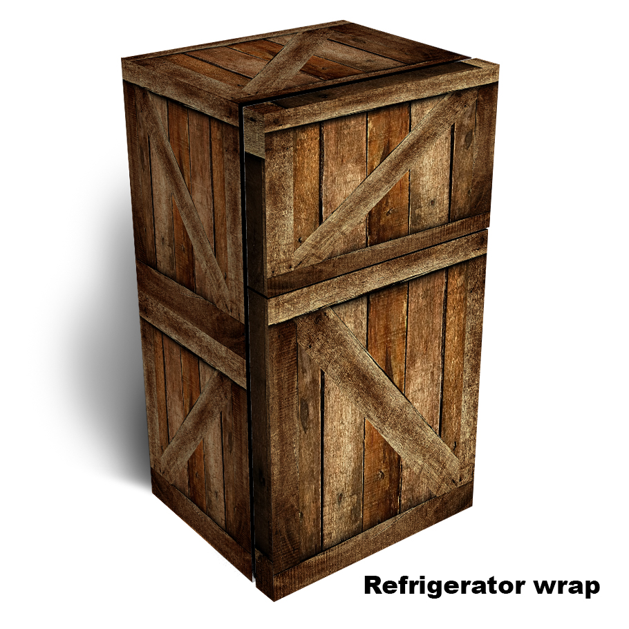 Weathered Wood Crate Refrigerator Skin
