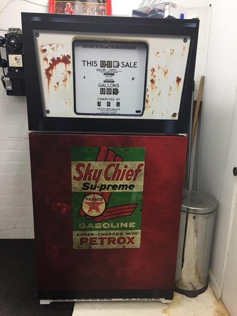 Vintage, Gas Pump, refrigerator wrap, Rm wraps, Sky Chief, Gas Gauge, Rustic,