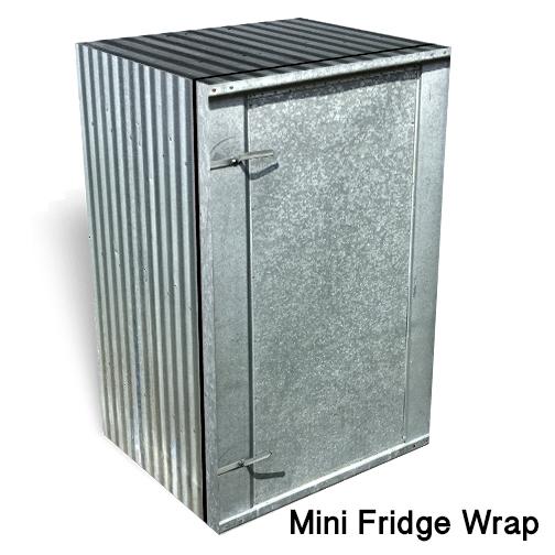 Corrugated Metal Mini Fridge skin