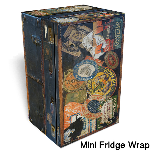 Traveling trunk mini fridge skin