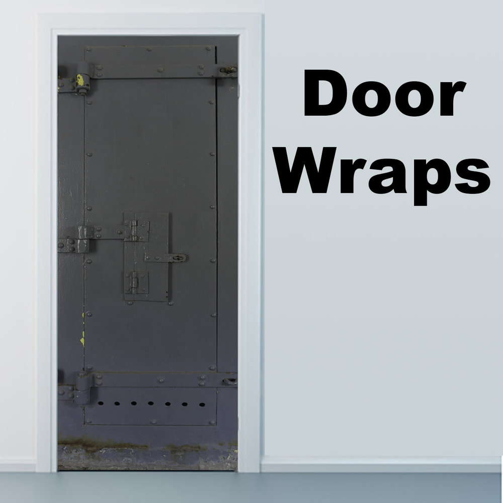 Grey Prison Door with Closed Window Door Wrap