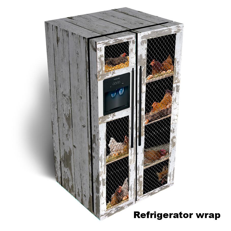 Chicken Coop Side by Side Refrigerator Skin