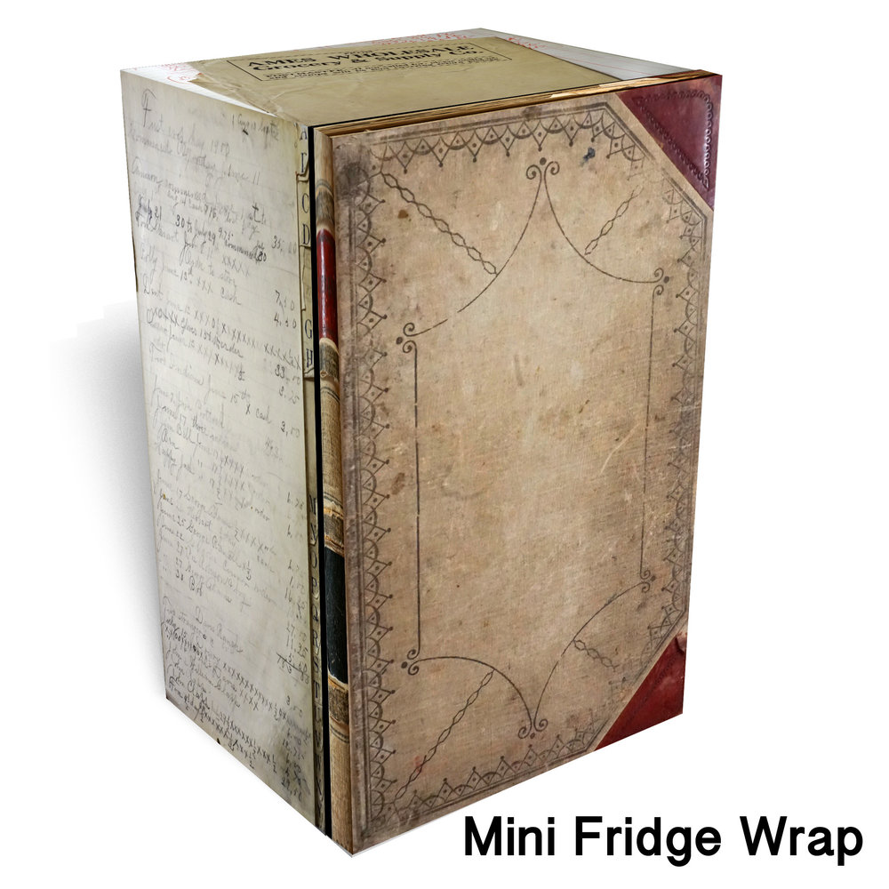 250 Vintage book mini fridge wrap